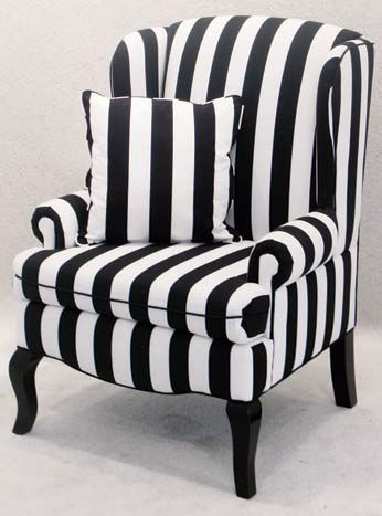 Black-and-white striped Encore wingback chair, $125, available throughout  Southern California from Town & Country Event Rentals.