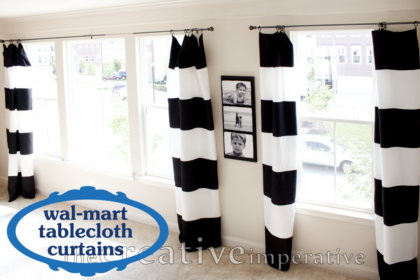 Black and White Horizontal Striped Curtains {made from tablecloths}