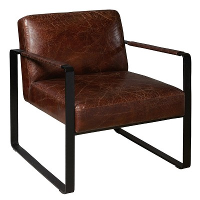 Modern Style Distressed Brown Leather Black Metal Frame Arm Chair - Brown -  Pulaski : Target