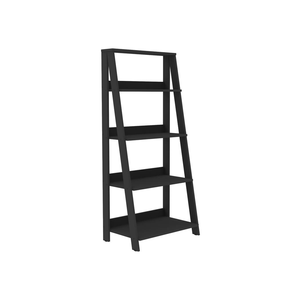 Walker Edison Furniture Company 55 in. Wood Ladder Bookshelf - Black