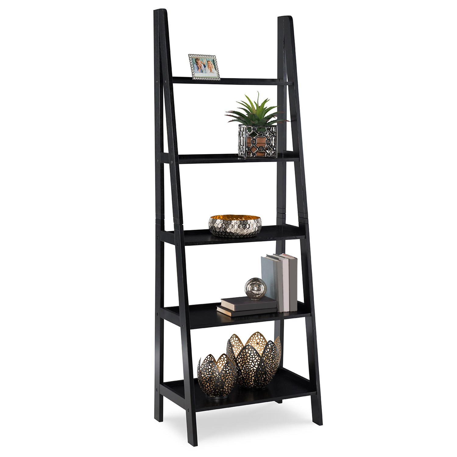 5-Tier Bookshelf. Black Gray Brown White