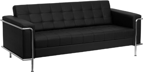 Traveller Location: Flash Furniture ZB-LESLEY-8090-SOFA-BK-GG Hercules Lesley  Series Contemporary Black Leather Sofa with Encasing Frame: Kitchen & Dining