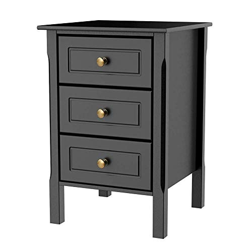 Yaheetech Black Gloss 3 Drawers Bedside Table Cabinet Stylish Nightstands  with Silver Handle Bedroom Furniture
