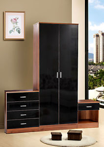 black gloss bedroom furniture image is loading walnut-black-gloss-bedroom- furniture