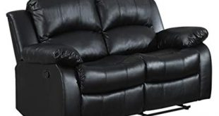 Image Unavailable. Image not available for. Color: Homelegance Double Reclining  Loveseat, Black Bonded Leather