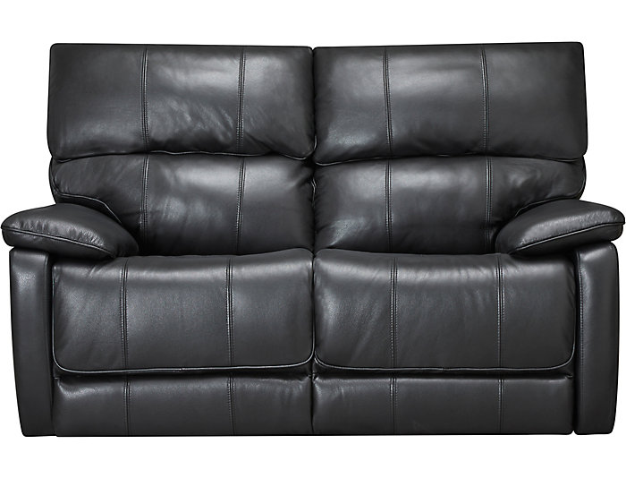 Sloan Black Reclining Leather Loveseat, Black, large