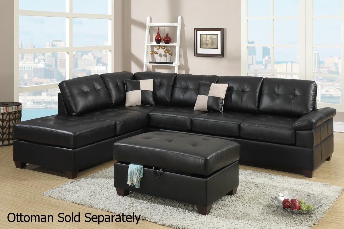Black Leather Sectional Sofa - Steal-A-Sofa Furniture Outlet Los Angeles CA