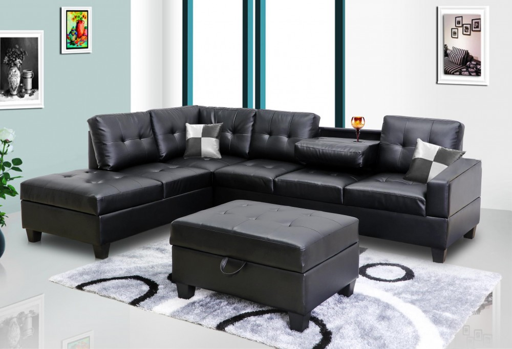 Black Faux Leather Sectional | 8077801 - Black | Sectional Sofas | Price  Busters Furniture
