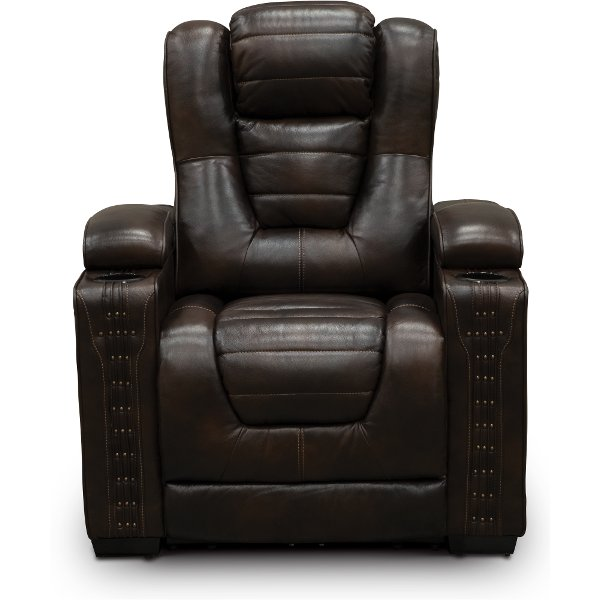 Mekong Brown Leather-Match Home Theater Power Recliner - Big-Chief