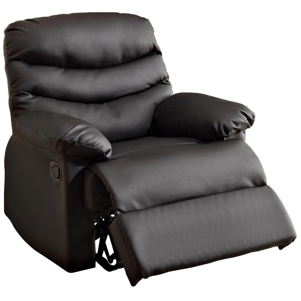 Furniture of America Pleasant Valley Black Bonded Leather Recliner-CM-RC6928BK  - The Home Depot