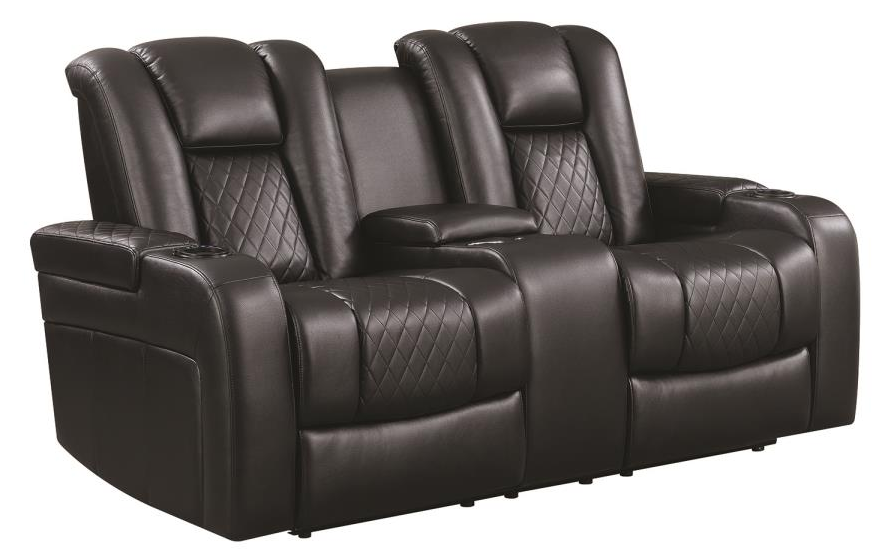 Delangelo Black Power Reclining Loveseat with Receptacles 602302P