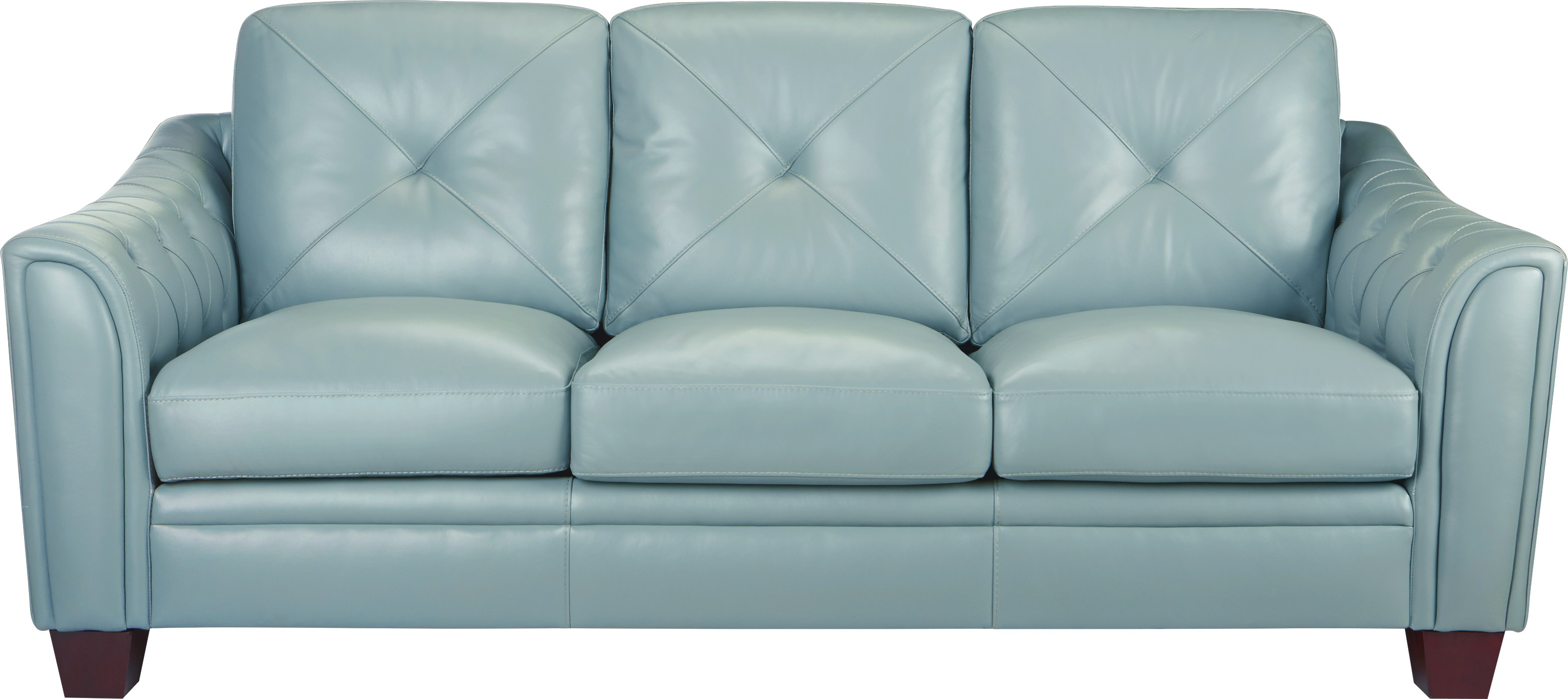 Cindy Crawford Home Marcella Spa Blue Leather Sofa - Leather Sofas (Blue)