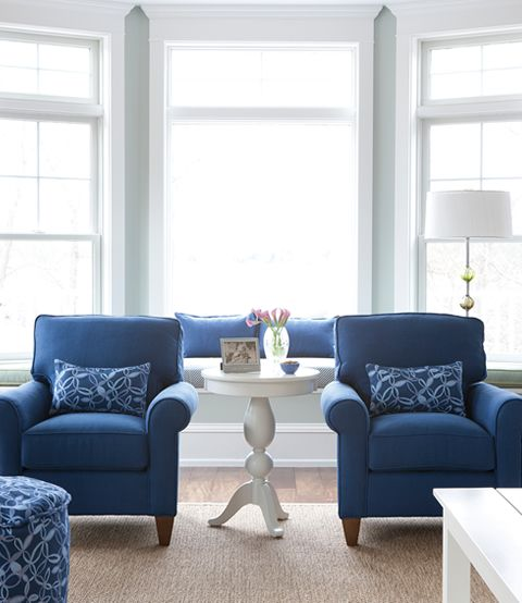 Blue chairs are the same color as my sofa in FL. Ocean Blue Living Room |  Maine Cottage #mainecottage