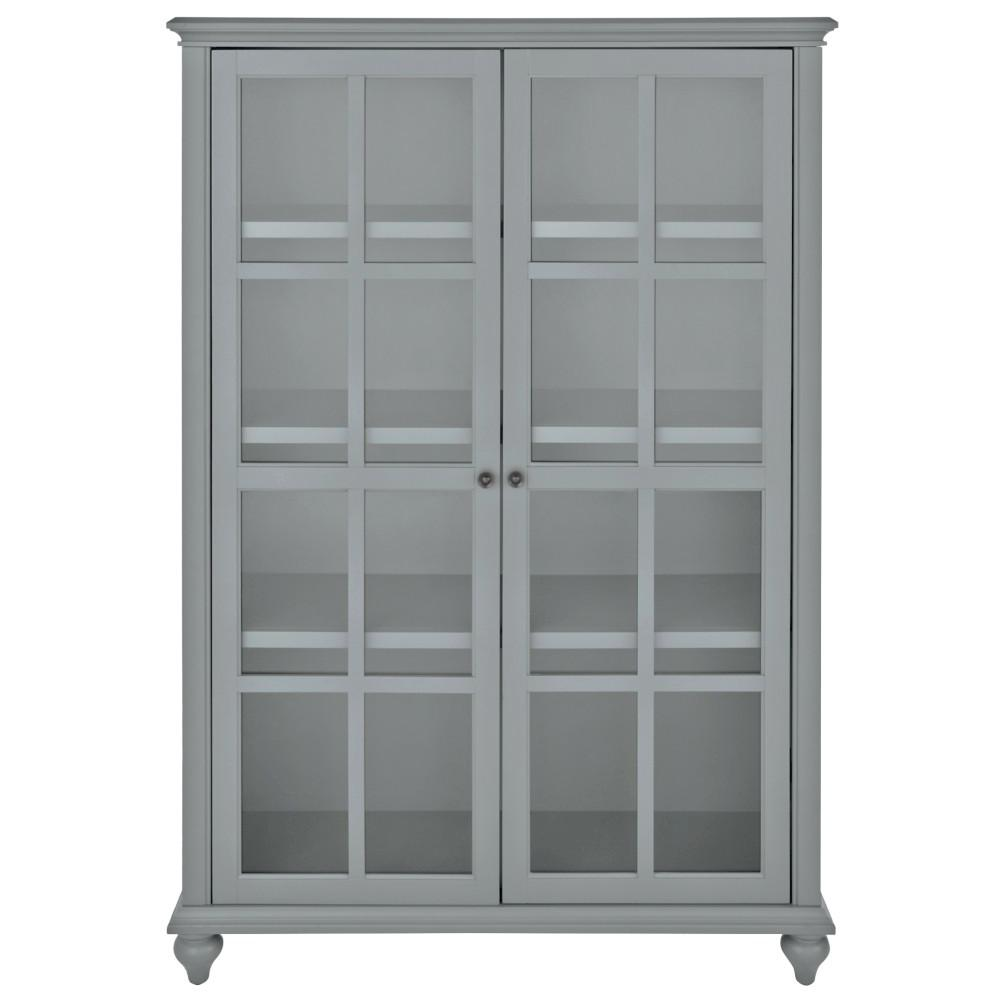 Home Decorators Collection Hamilton 60 in. H Grey Glass Door Bookcase-9787300270  - The Home Depot