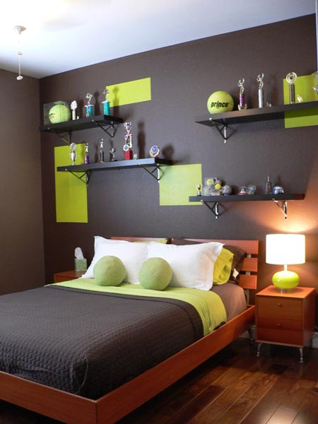 This tennis-inspired room cleverly includes the same shade of green as a  tennis ball on the walls. The room also features tennis ball decorative  pillows.
