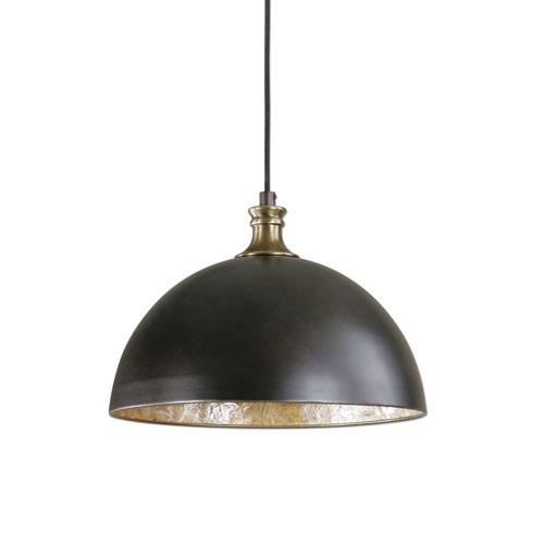 Uttermost Placuna Bronze With Antique Brass One Light Pendant 22028