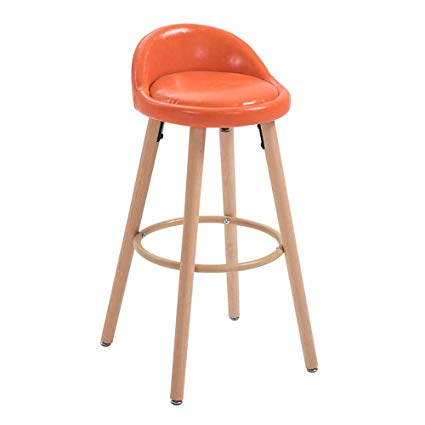 Traveller Location : Bar Stools High Counter Breakfast Chair Seat Wood Legs Orange Stools  Breakfast Kitchen Bar Home Counter Faux Leather Kitchen Stools Padded Seat