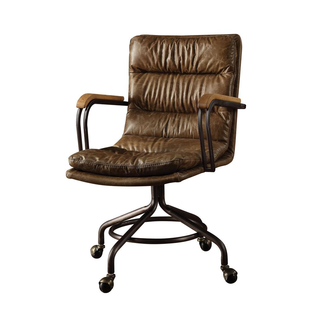 ACME Furniture Hedia Vintage Whiskey Top Grain Leather Office Chair-92416 -  The Home Depot