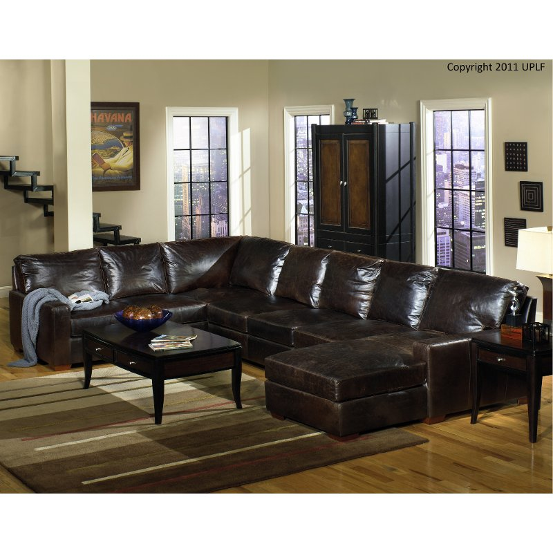 Contemporary Brown Leather 4 Piece Sectional Sofa - Mayfair | RC Willey  Furniture Store