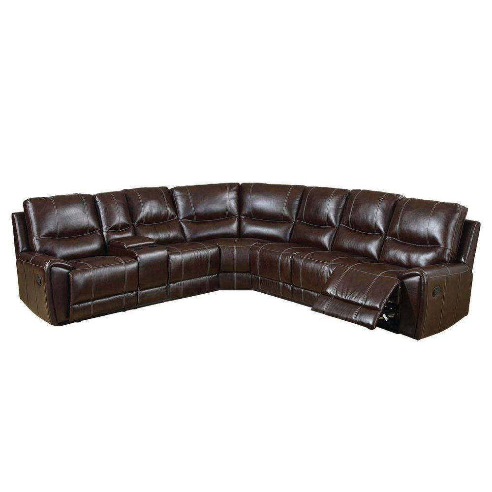 Furniture of America Keystone Brown Bonded Leather Sectional-CM6559 - The  Home Depot