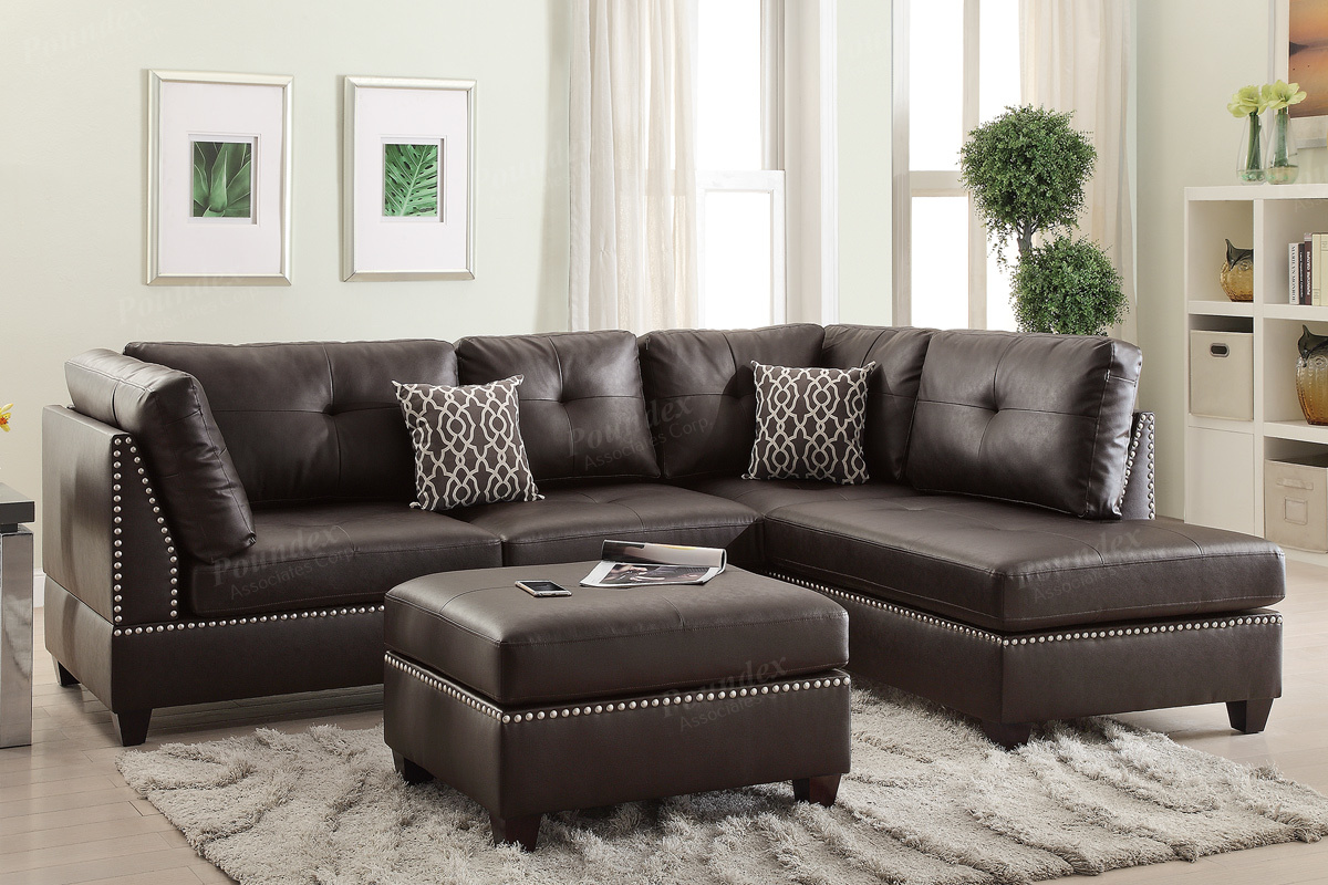 Brown Leather Sectional Sofa and Ottoman - Steal-A-Sofa Furniture Outlet  Los Angeles CA
