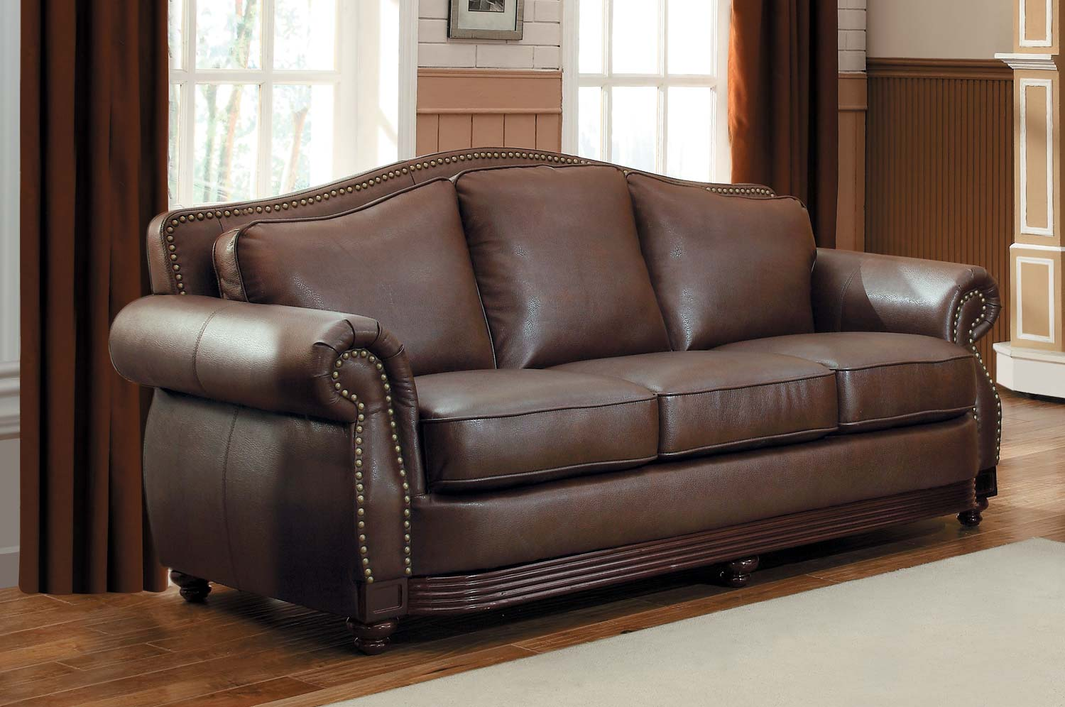Homelegance Midwood Bonded Leather Sofa - Dark Brown 9616BRW-3 |  Traveller Location