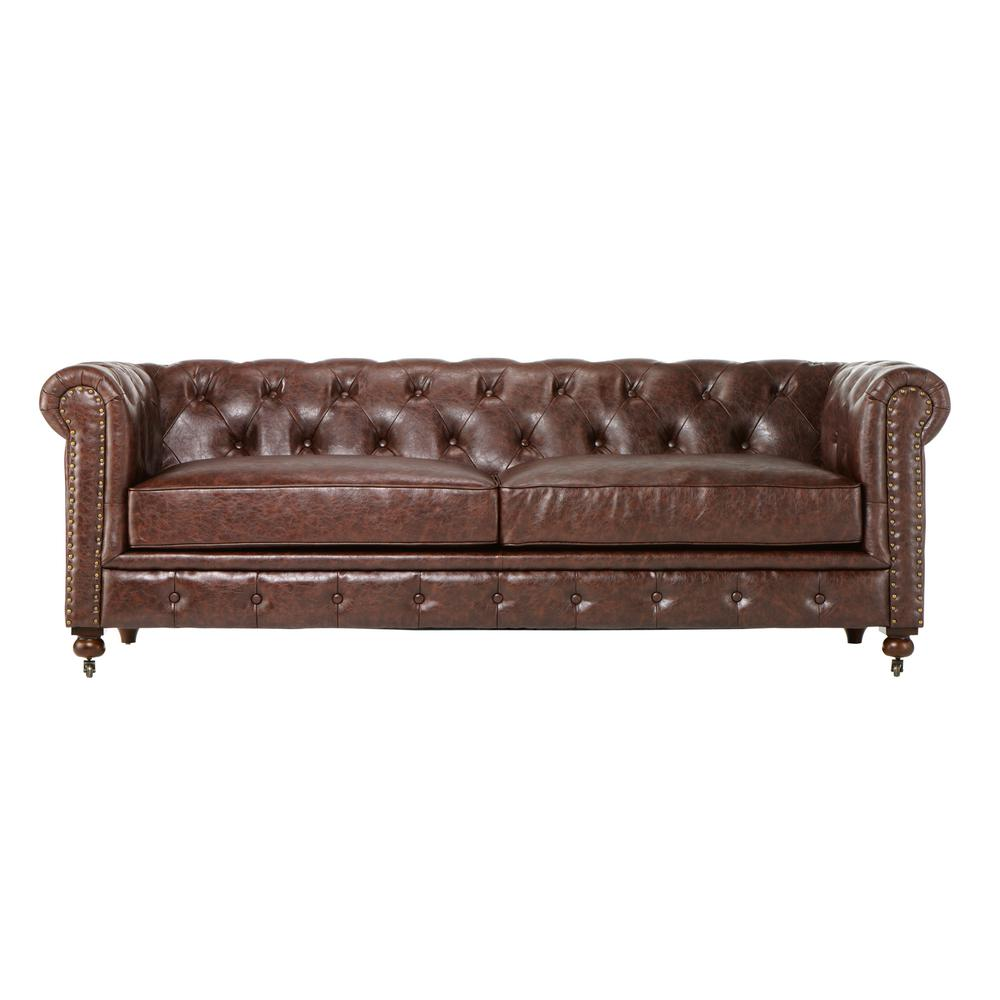 Home Decorators Collection Gordon Brown Leather Sofa-0849400760 - The Home  Depot