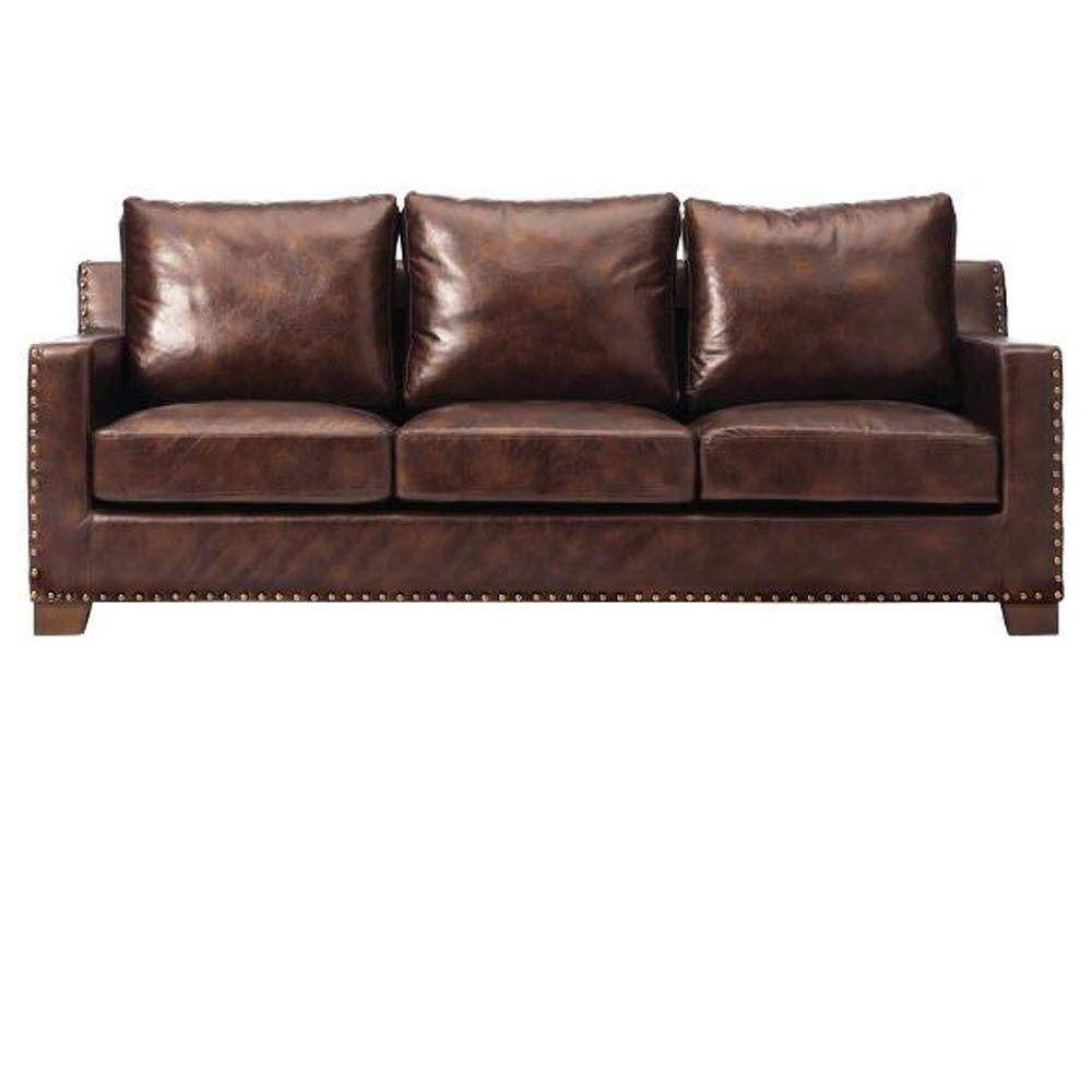 Home Decorators Collection Garrison Brown Leather Sofa-1600400820 - The  Home Depot