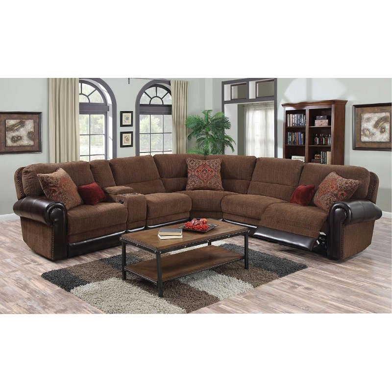 Auburn Brown 4 Piece Power Reclining Sectional Sofa - William | RC Willey  Furniture Store