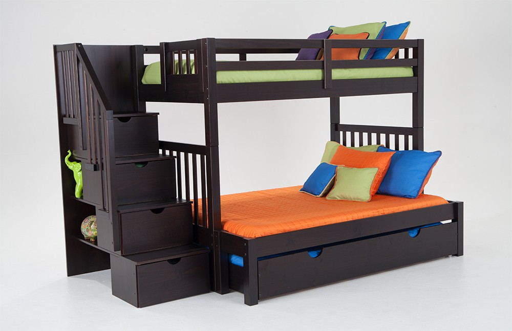 bunk beds for kids keystone stairway twin/full bunk bed with perfection  innerspring mattresses and