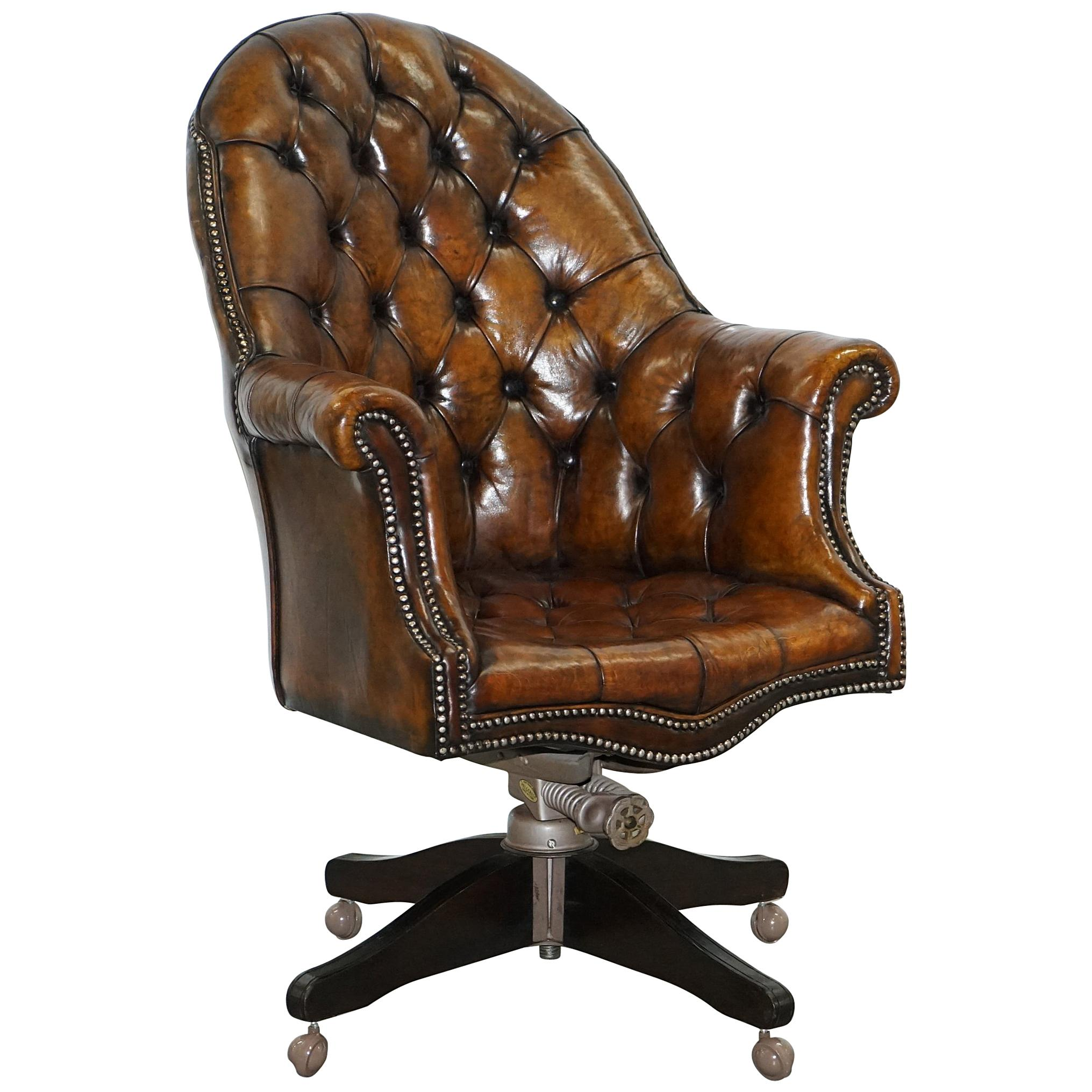 Restored 1920s Hillcrest Chesterfield Brown Leather Directors Captains Chair  A1 For Sale at 1stdibs