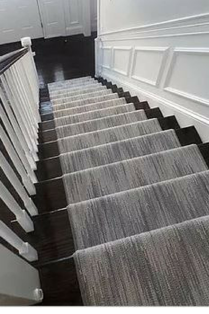 Chic chevron patterned wool carpet stair runner in 5 shades of grey by K.  Powers & Company.