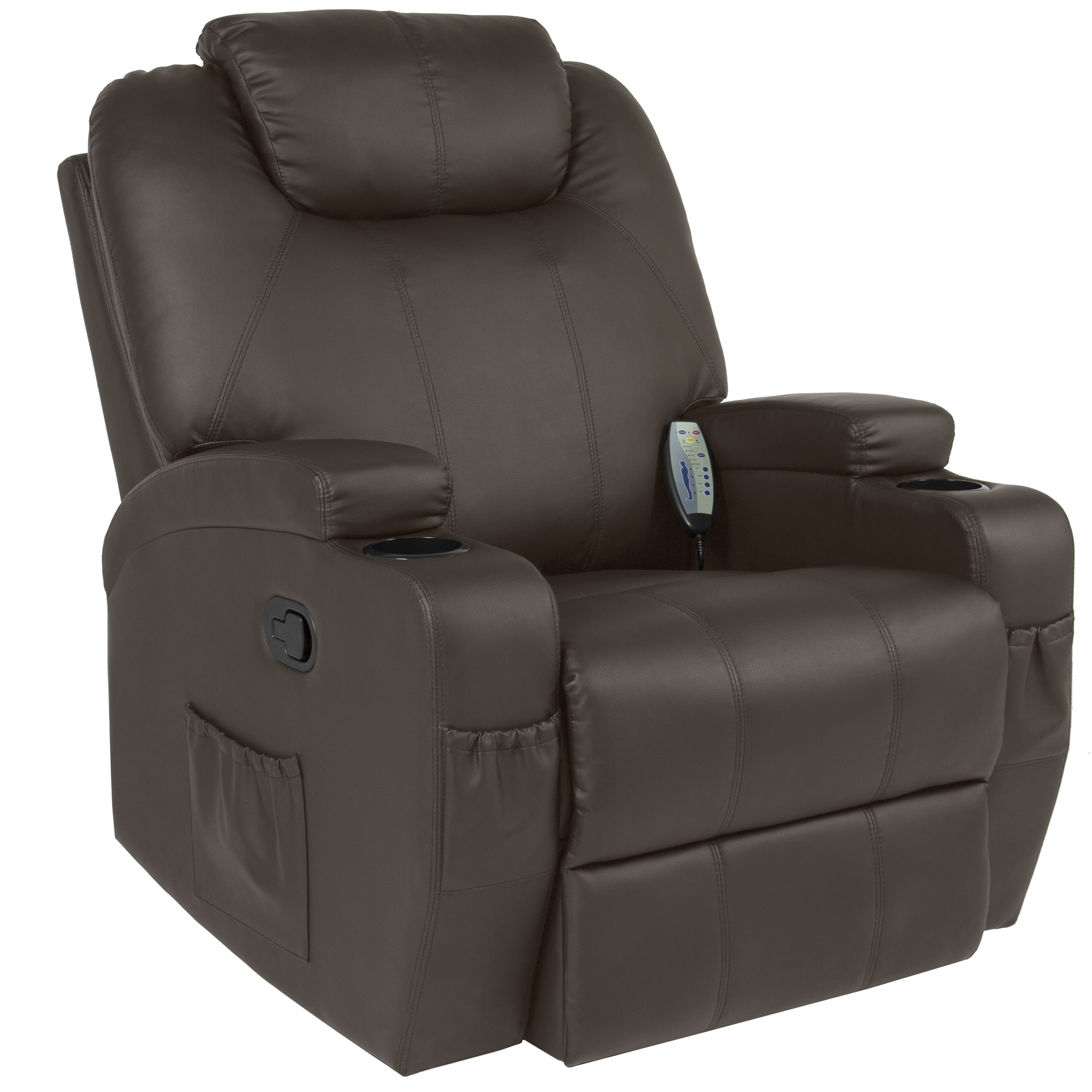 Best Choice Products Executive PU Leather Swivel Electric Massage Recliner  Chair w/ Remote Control, 5 Heat & Vibration Modes, 2 Cup Holders,