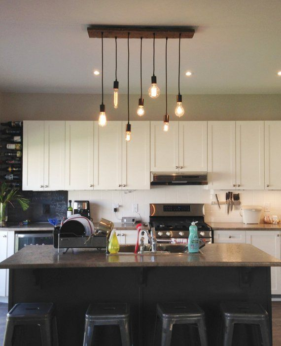7 Pendant Wood Chandelier - Kitchen Island chandelier - Kitchen
