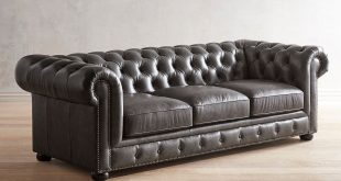 Southerlyn Charcoal Genuine Leather Chesterfield Sofa | Pier 1
