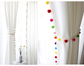 Pom Pom Blackout Curtains, Kids Blackout Curtains, White Blackout Curtains,  Curtains Nursery, Bedroom Curtains, Tassel Curtains