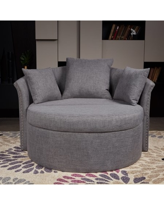 LOKATSE Indoor Circular Round Shape Upholstery Loveseat with Cushions and  Pillows
