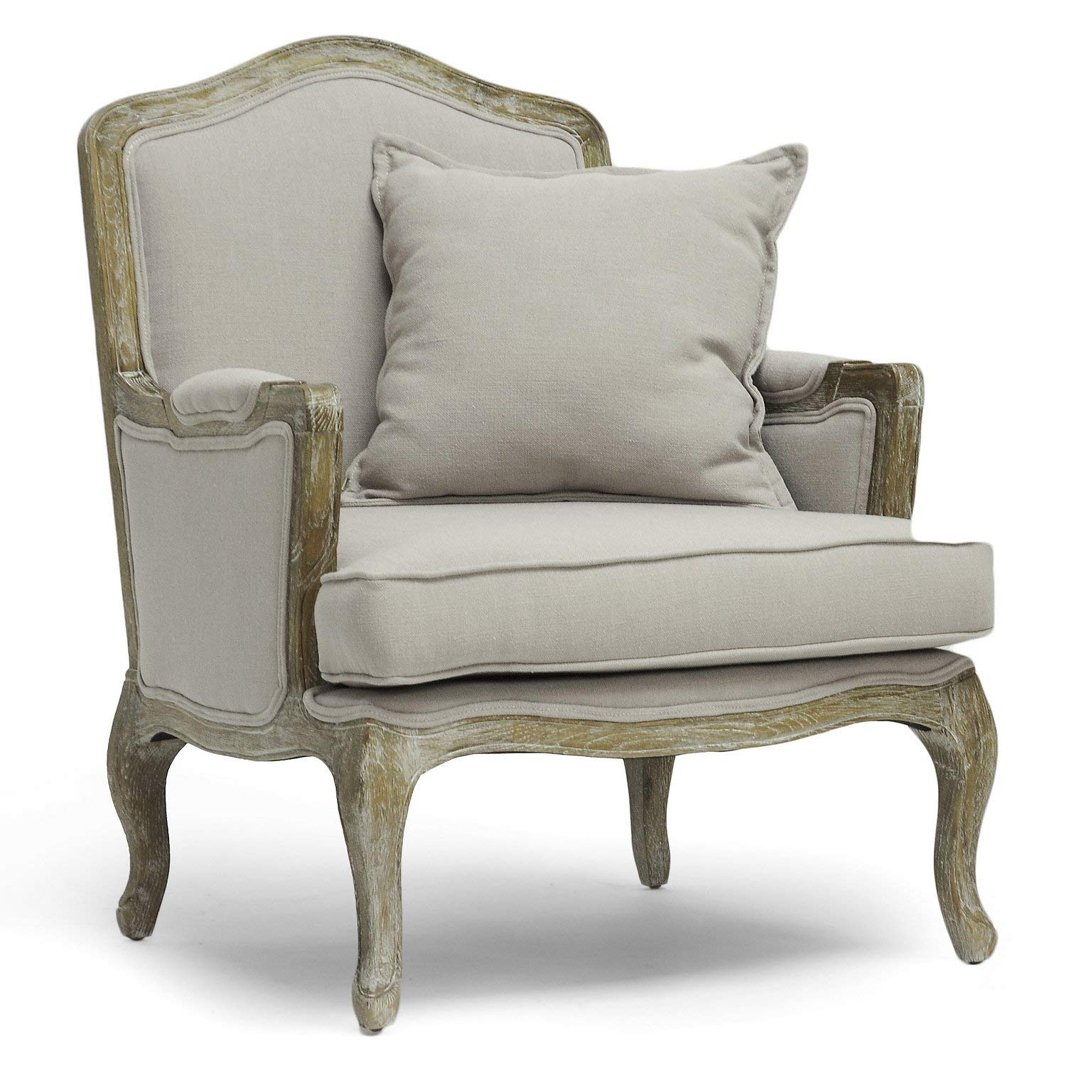 Traveller Location - Baxton Studio Constanza Classic Antiqued French Accent Chair,  29.25L x 29W x 37.25H, Beige - Chairs