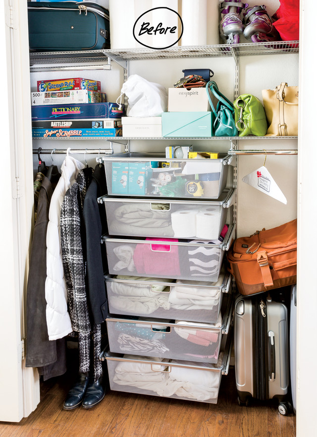 Everything from purses, Rollerblades, games, luggage and extra toilet paper  was stored in the closet. She yearned for her closet systems to work extra  hard