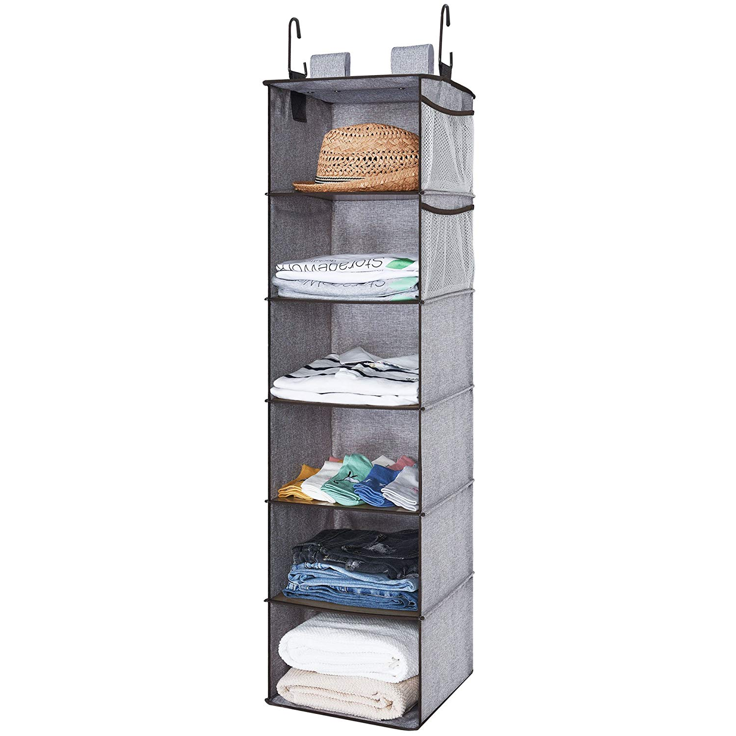 Traveller Location: StorageWorks Closet Hanging Organizer, 2 Ways Dorm Closet  Organizers with Thickened Board, Gray, 6 Shelves, Side Pockets, 12x12x42  inches: Home