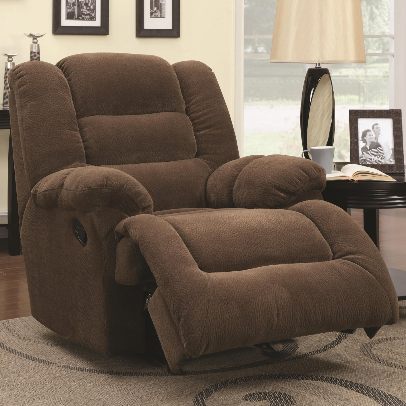 Brown Fabric Glider Recliner - Steal-A-Sofa Furniture Outlet Los Angeles CA