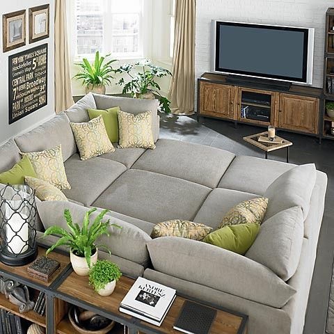 LIKE THE GREY AND GREEN! talk about a big comfy couch This will do