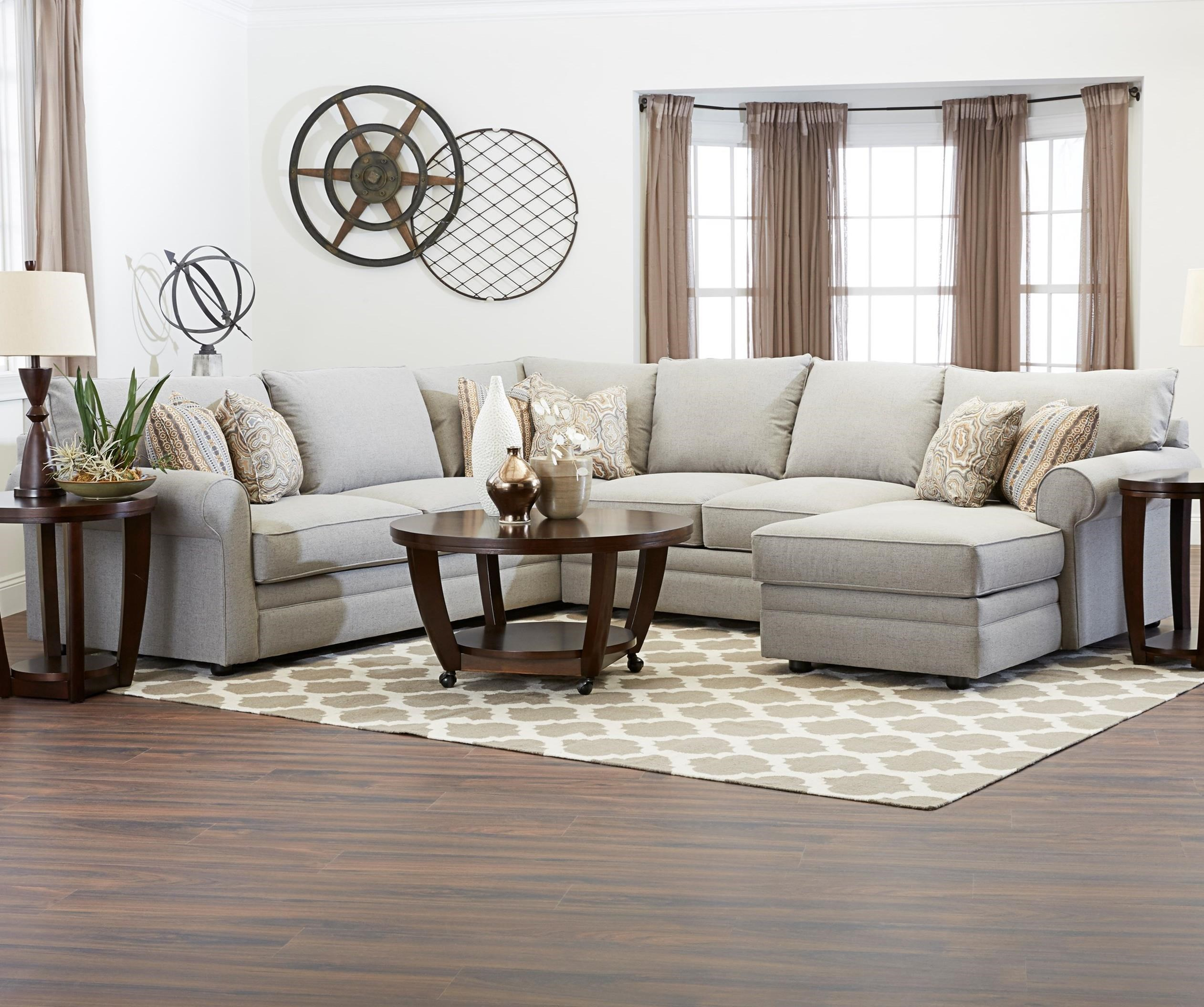 Comfy Casual Sectional Sofa with RAF Chaise by Klaussner