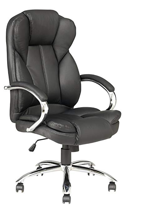 Ergonomic Home Office Chair, High Back PU Leather Computer Desk Chairs,  Task Rolling Swivel