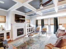 Coffered Ceilings and Blended Patterns are the Stars of this Textured Contemporary  Living Room 8 Photos