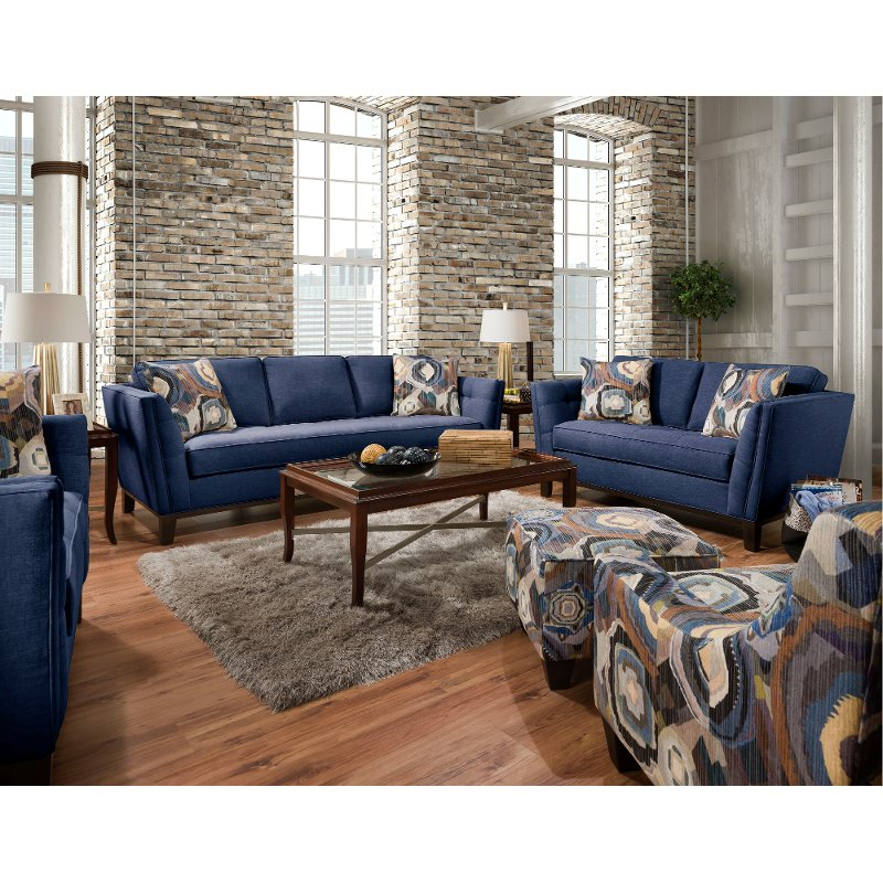 Mid-Century Modern Blue 2 Piece Living Room Set - Patchquilt | RC Willey  Furniture Store