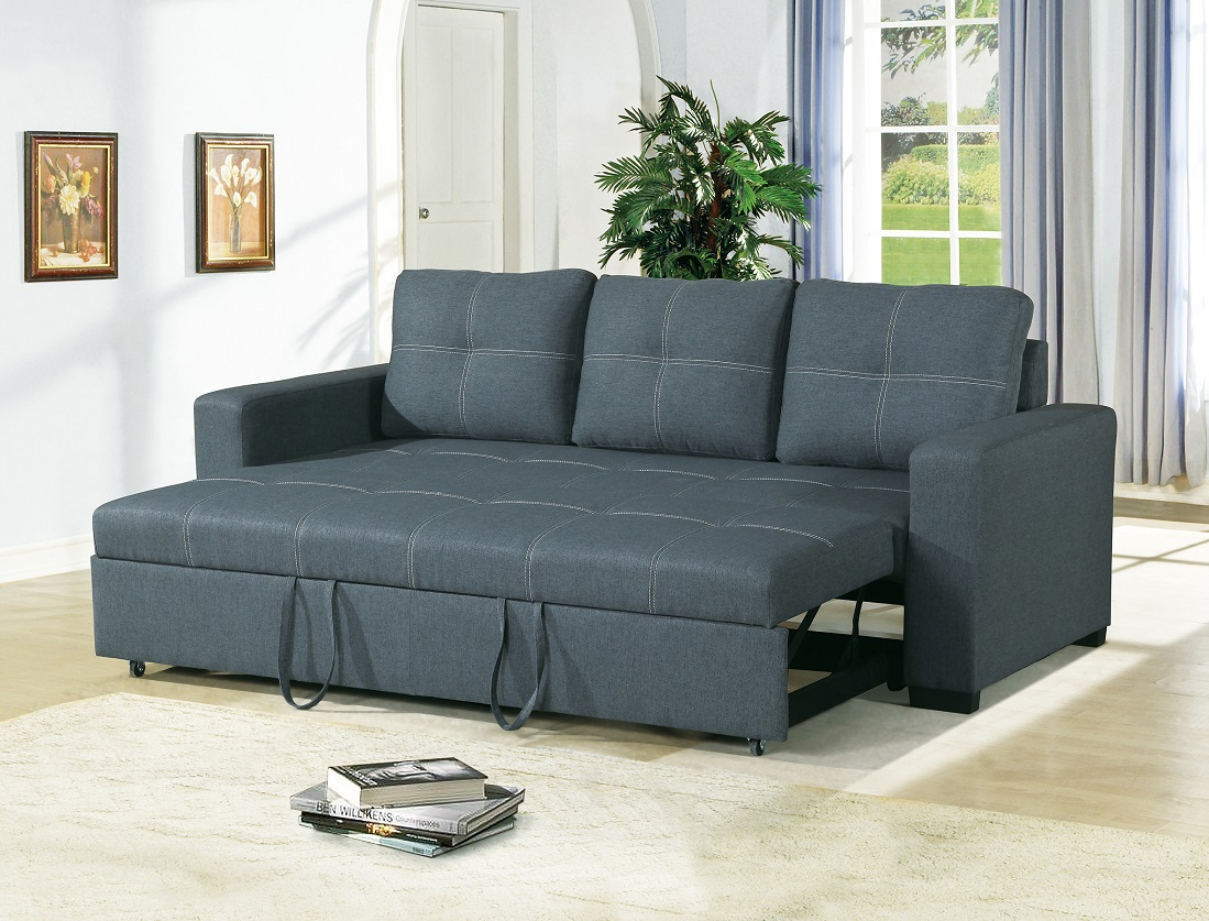 Convertible Sofa Bed Bobkona Living Room Sofa w Pull out Bed Accent  Stitching Comfort Couch Blue Grey Polyfiber - Traveller Location