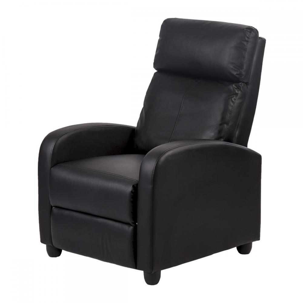 Black/Brown Modern Leather Chaise Couch Single Recliner Chair Sofa  Furniture 87