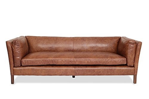 Edloe Finch Modern Leather Sofa - Mid Century Modern Couch - Top Grain  Brazilian Leather -