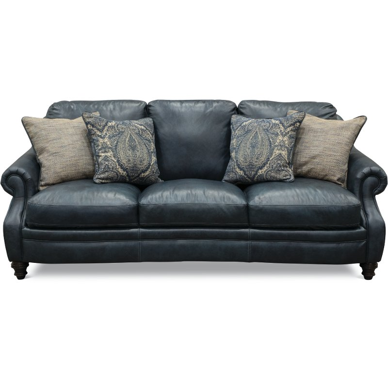 Classic Traditional Navy Blue Leather Sofa - Admiral | RC Willey Furniture  Store